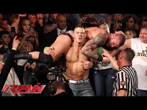 John Cena And Randy Orton Brawl Outside The Ring: Raw, Jan., 20, 2014 video