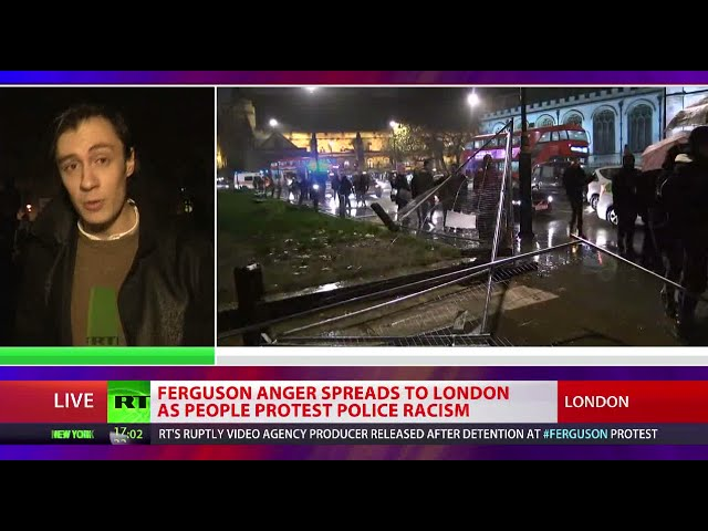 London to Ferguson: Crowd protesting police racism tears down Parliament Square barriers