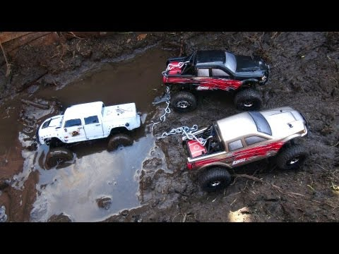 RC ADVENTURES - 3 way Tow Job in the MUD.  Muddy Micro 4x4 RC Trucks Get Down & Dirty in BOG oF DOOM
