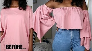 DIY Flared/Bell Sleeve Crop Top | T-Shirt Transformation