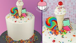 Classic Birthday Cake with a Standing Ice Cream Illusion - My Cupcake Addiction