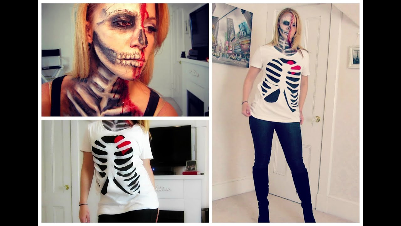 Diy halloween skeleton rib cage shirt youtube for How to put a picture on a shirt diy