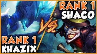 RANK 1 KHA'ZIX VS. RANK 1 SHACO (INSANE MATCHUP METAPHOR VS. CHASE) - League of Legends