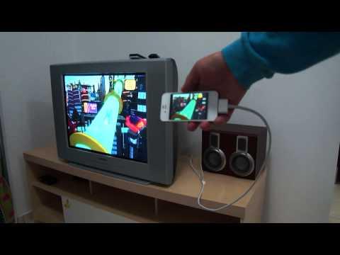 iPhone 4S ligado cabo RCA em TV