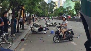 Công An Tạo Hiện Trường Giả Để Vu Khống Ngừoi Biểu Tình Tại Sài Gòn