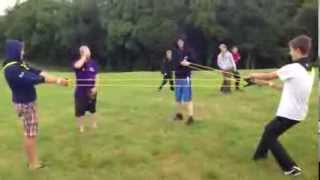 Idiot shot with catapult