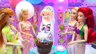 Elsa's Surprise BIRTHDAY Pool Party Anna Prep Party with Princesses and Barbie Mermaid Gifts - Cake