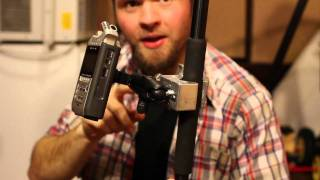 Using a super clamp to mount your Zoom H4n on your boom pole - DSLR FILM NOOB