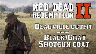 Deauville Outfit (Black/Gray Shotgun Coat) Red Dead Redemption 2 Custom Fashion Van Cleef Grey
