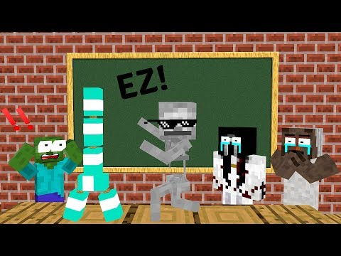Monster School: BOTTLE FLIP CHALLENGE VS GRANNY + SLENDRINA + BALDI'S BASIC - Minecraft Animation