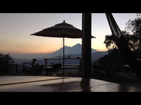 Time lapse video of sunset over Fuego from Earth Lodge, near Antigua in Guatemala
