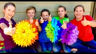 Learn English Colors! Fluffy Rainbow Sunburst with Sign Post Kids!