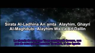 Apprendre sourate al Fatiha avec Cheikh Menchaoui et l'enfant, Français-phonétique-arabe