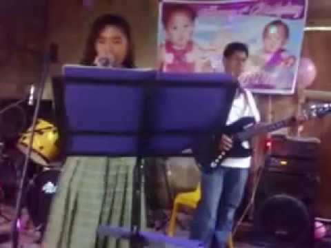 talented pinay  student with her band singing cant take my eyes of you