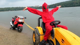 Kid Rides on Power Wheel BMW Sportbike / The Bike Stuck in Sand / Funny Kidscoco Club Family Video