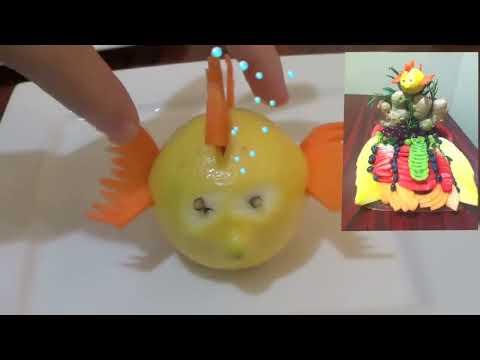 Como hacer un pescado con un limón y zanahoria -Arte en fruta (Fruit Carving fish centerpiece)