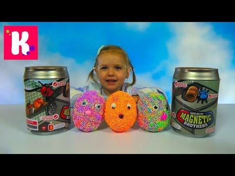 Божьи коровки и Жуки Феромагнитные в банках распаковка игрушек Magnetic brothers crawling toy