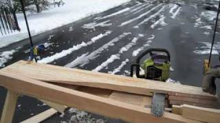 Carving wind turbine blades with a chainsaw Windward side, homemade and residential