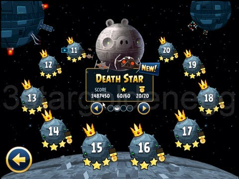 Angry Birds Star Wars Death Star Level 11 to 21 3 Stars and Falcon