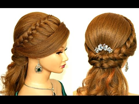 Easy prom hairstyles for long hair. Romantic bridal hair tutorial