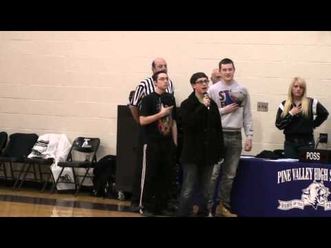 Adam Lukasik singing The Star Spangled Banner Pine Valley vs Forestville -