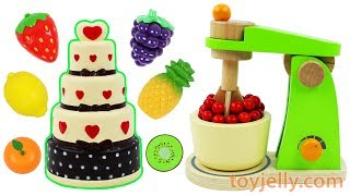Squishy Birthday Cake Toy Mixer Playset Learn Fruits & Vegetables with Wooden Velcro Toys for Kids