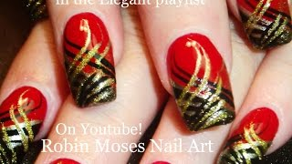 Nail Art | DIY Red Nails with Stripes! Black and Gold Nail Design tutorial