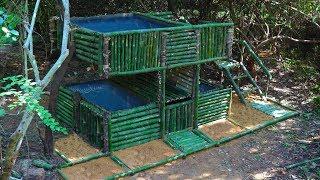 Build Bamboo Villa House , Swimming Pool And Fish Pond