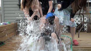 Beyblade Punishment Battle: WATER BALLOON Challenge! Battle of the Geeks with Beyblade Burst