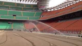 Irrigation of sand based growth medium in San Siro - Irrigazione del fondo in sabbia a San Siro