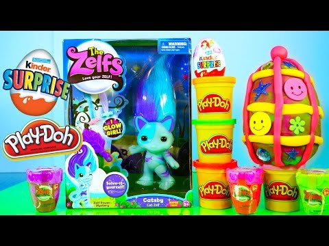 Play Doh Kinder Surprise Eggs Toy The Zelfs Doll Disney Princess Egg Toys Cinderella Playdough