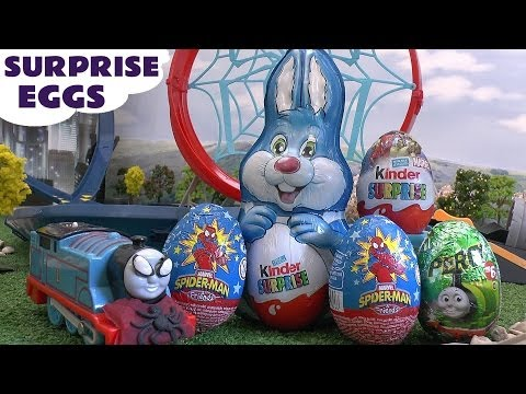Spider-man Thomas And Friends Surprise Eggs Play Doh Marvel Superhero Giant Kinder Surprise Egg video