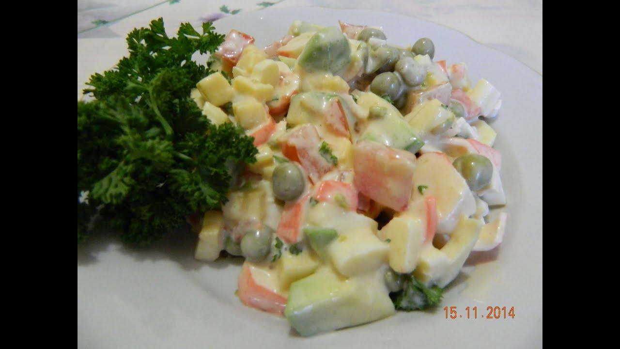 Салаты с крабовыми палочками и авокадо рецепты с