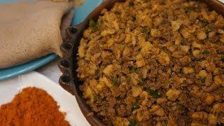 Ethiopian Food - Dulet Recipe Tripe Kidney Liver Amharic English Gubet Kibe Mitmita Injera