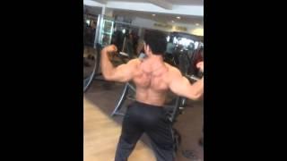 Posing in gym