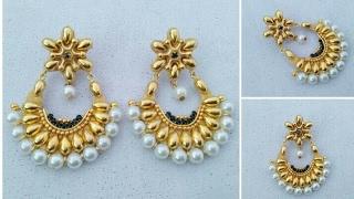 How To Make Designer Earrings // Chandbali Earrings // Paper Jewellery Making //Latest Jewelry //DIY