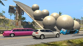 Beamng drive - Giant Concrete Balls rolling Against moving Cars