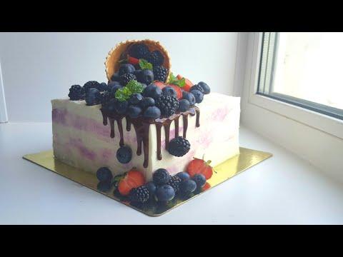 Выравнивание квадратного торта🎂подробное видео🎂Square cake frosting🎂