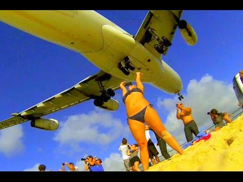 Unique St. Maarten - Best Air France A340 Landings from different spots