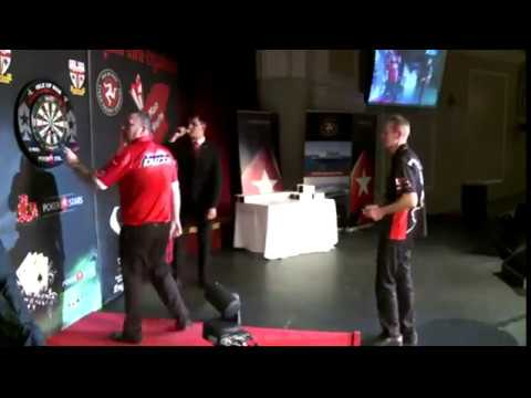 Glen Durrant celebrating Missing a Checkout - 2018 BDO Isle of Man Open