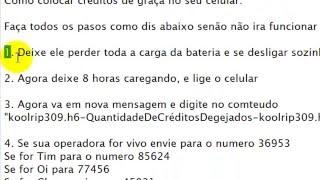 Como Colocar Créditos de Graça no Seu Celular (R&500,00) Novo Método 17/08/2015