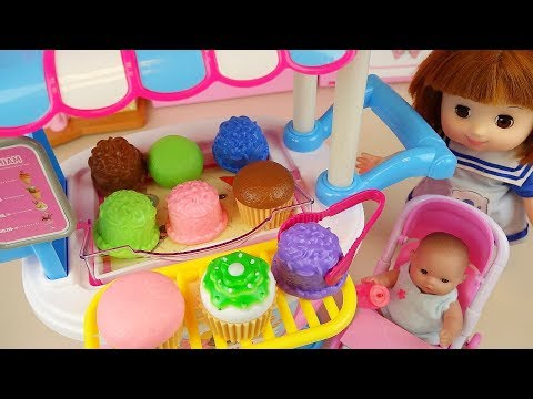 Baby doll cake Ice cream cart and surprise eggs toys play