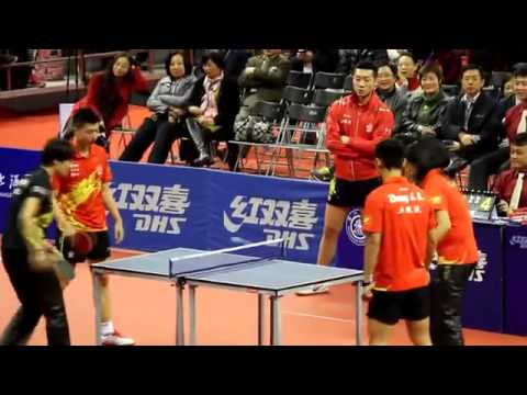 Zhang Jike Li Xioxia & Ding Ning MA LONG on a Mini Table. Show TT