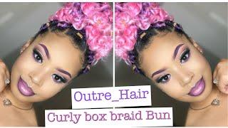 Curly Box Braid Bun Using Outre Hair