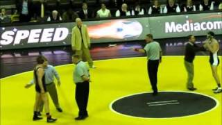 Iowa Hawkeye 184 Grant Gambral wrestles to victory over ametuer boxer Ian Hinton of Michigan State