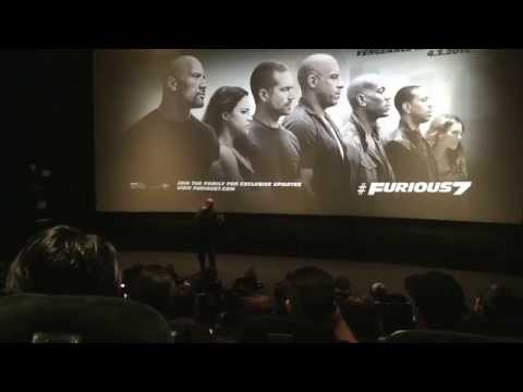 Emotional Vin Diesel Stops By Fast and the Furious 7 Advanced Screening in Los Angeles 3/16/15