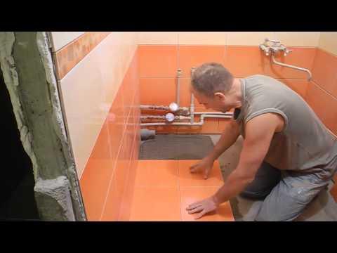Укладка плитки напол в ванной комнате ч.3