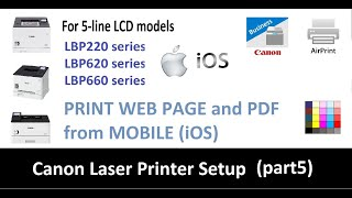 How to print web page from iOS with Canon LBP223dw LBP226dw LBP621Cw LBP623Cdw LBP663Cdw (part5)