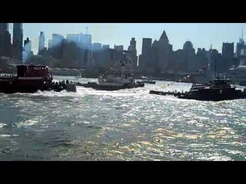 September 6, 2009, New York City finds tugs racing down the Hudson River from Pier I to Pier 84 in Manhattan. Tugs Cornell, Urger, Ellen McAllister, Pegasus,...
