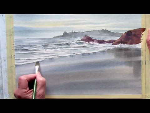 painting wet sand in watercolor